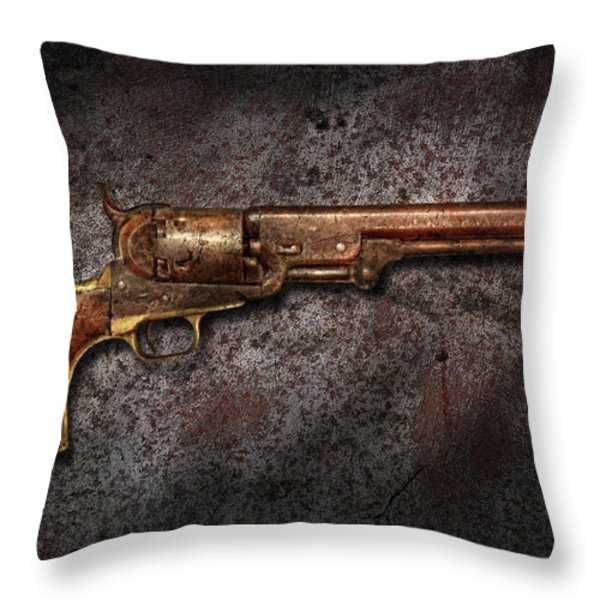 Gun - Colt Model 1851 - 36 Caliber Revolver Throw Pillow by Mike Savad
