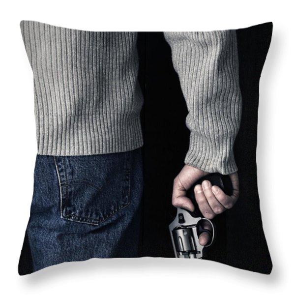 Gun Throw Pillow by Edward Fielding