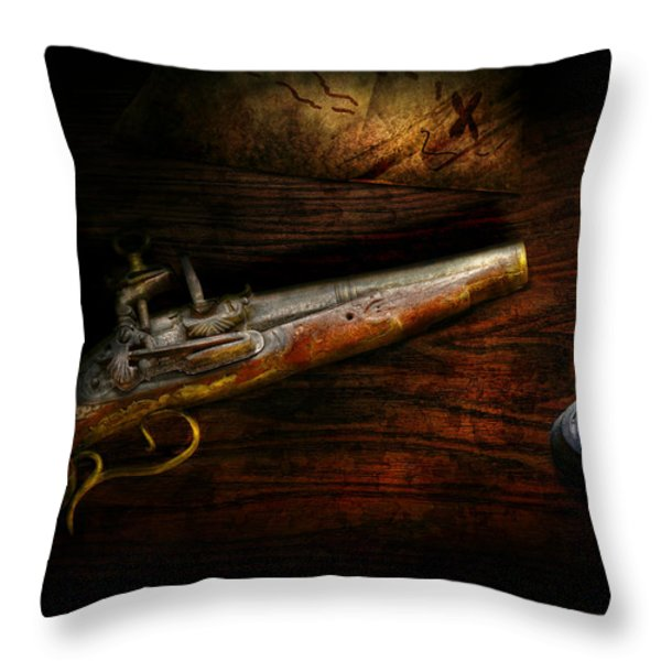 Gun - Pistol - Romance of pirateering Throw Pillow by Mike Savad