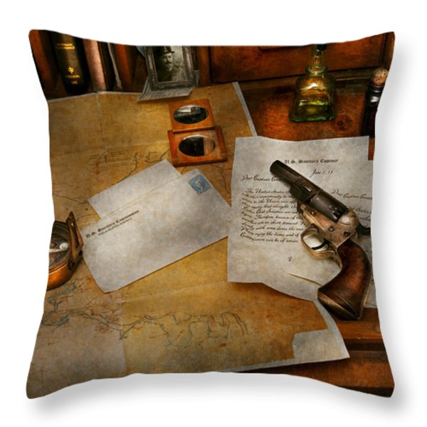 Gun - The adventure of military life  Throw Pillow by Mike Savad