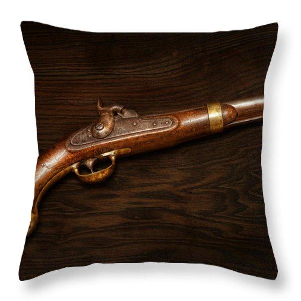 Gun - US Pistol Model 1842 Throw Pillow by Mike Savad