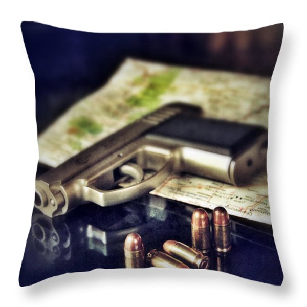 Gun With Bullets And Map Throw Pillow by Jill Battaglia