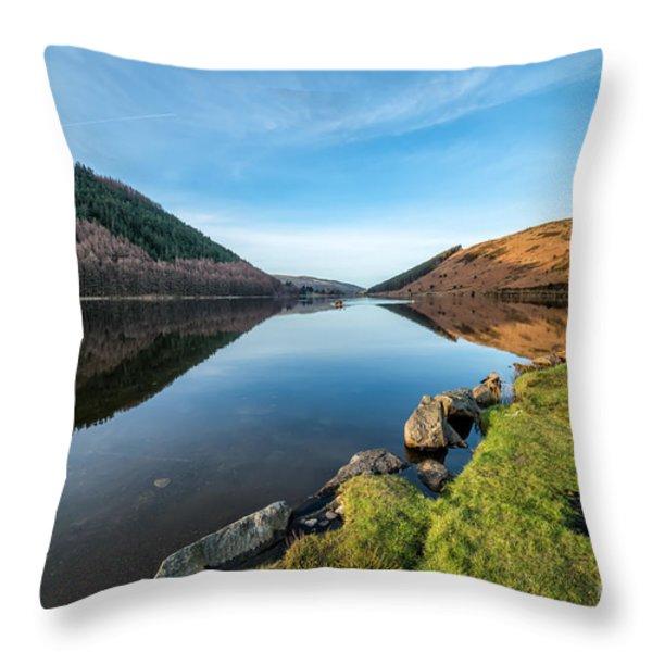 Gwydyr Forest Lake Throw Pillow by Adrian Evans