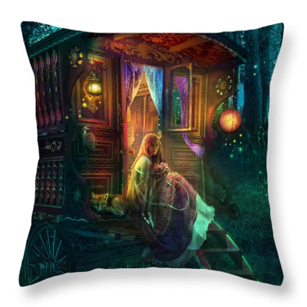 Gypsy Firefly Throw Pillow by Aimee Stewart