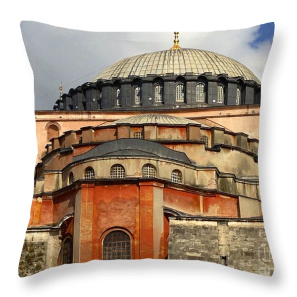Hagia Sophia Ayasofya Meydani Byzantine Basilica Later Imperial Mosque Istanbul Turkey Throw Pillow by Ralph A  Ledergerber-Photography