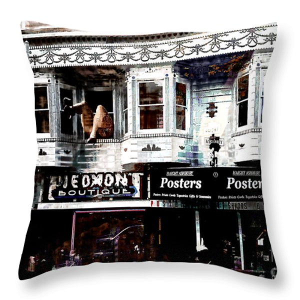 Haight And Ashbury Throw Pillow by Barbara D Richards