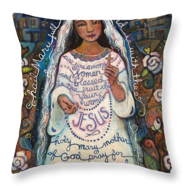 Hail Mary Throw Pillow by Jen Norton