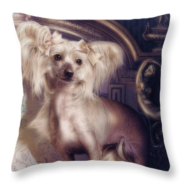 Hair Less Chinese Throw Pillow by Cindy Grundsten