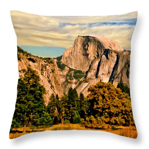 Half Dome Painting Throw Pillow by Bob and Nadine Johnston