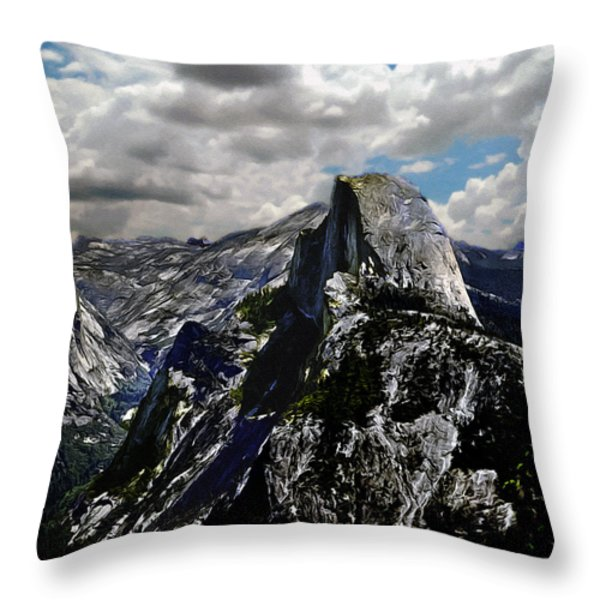 Half Dome Yosemite Throw Pillow by Bob and Nadine Johnston