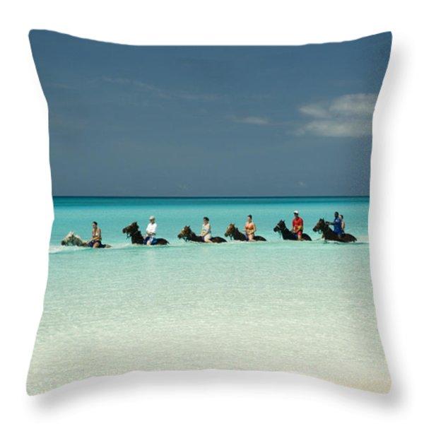 Half Moon Cay Bahamas Beach Scene Throw Pillow by David Smith