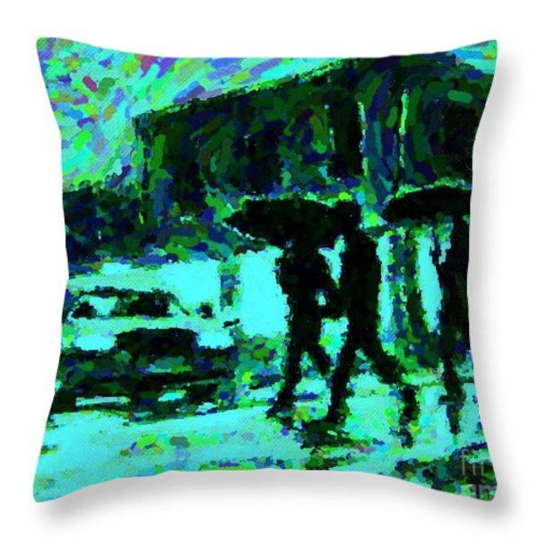 Halifax On A Rainy Night Throw Pillow by Halifax Artist John Malone