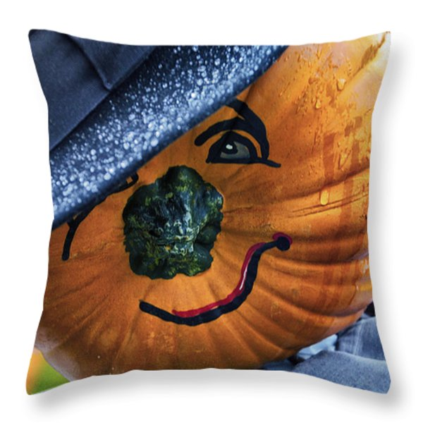 Halloween Pumpkin 02 Throw Pillow by Thomas Woolworth