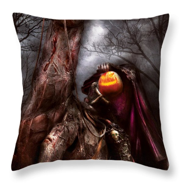 Halloween - The Headless Horseman Throw Pillow by Mike Savad