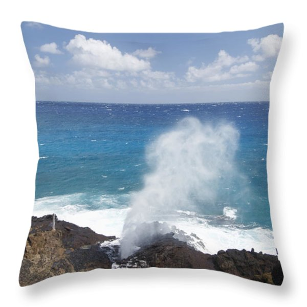 Halona Blowhole Throw Pillow by Brandon Tabiolo