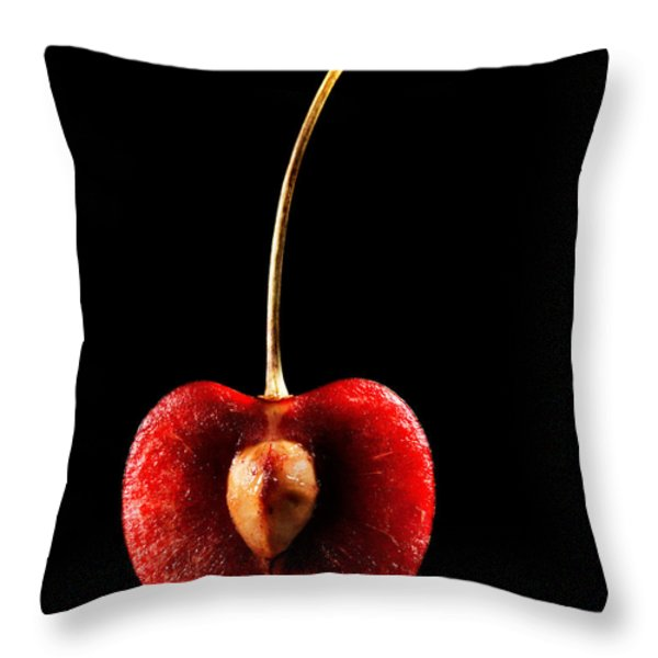 Halved Red Cherry Throw Pillow by Johan Swanepoel