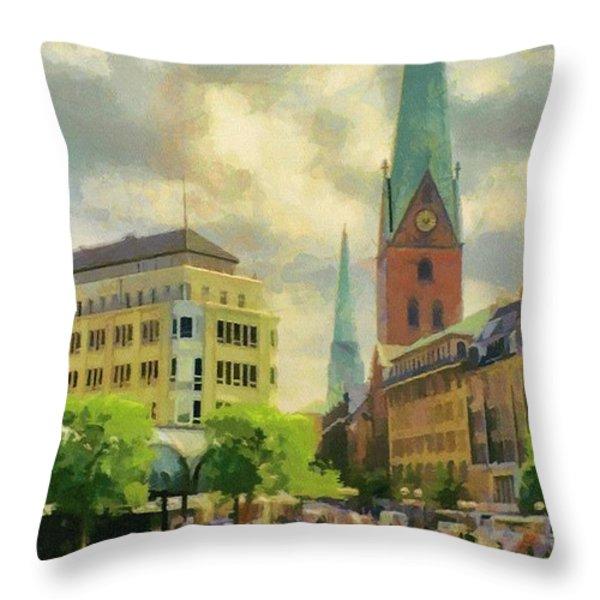 Hamburg Street Scene Throw Pillow by Jeff Kolker