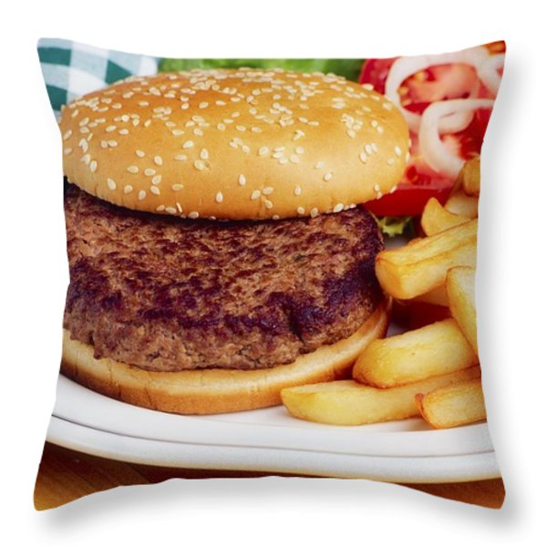 Hamburger & French Fries Throw Pillow by The Irish Image Collection