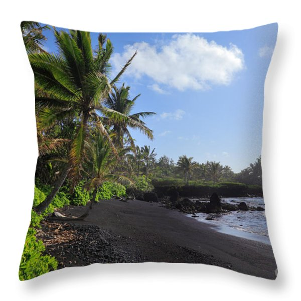 Hana Bay Palms Throw Pillow by Inge Johnsson