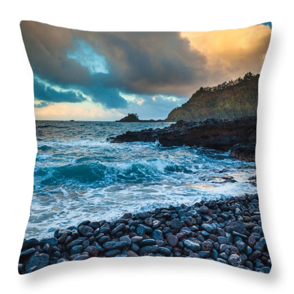 Hana Bay Pebble Beach Throw Pillow by Inge Johnsson