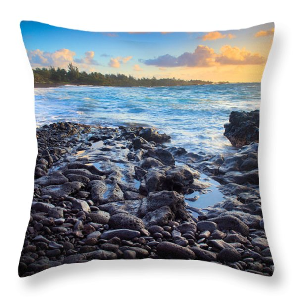Hana Bay Sunrise Throw Pillow by Inge Johnsson