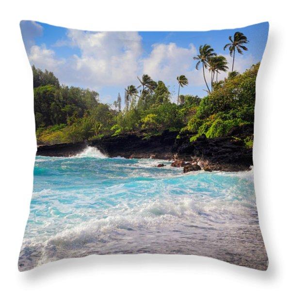 Hana Bay Waves Throw Pillow by Inge Johnsson