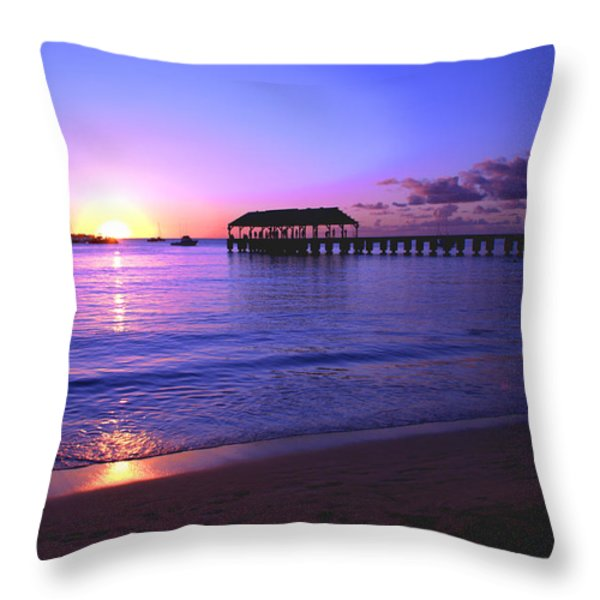 Hanalei Bay Pier Sunset Throw Pillow by Brian Harig