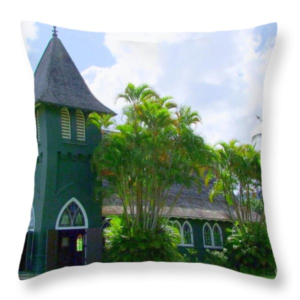 Hanalei Church Throw Pillow by Mary Deal