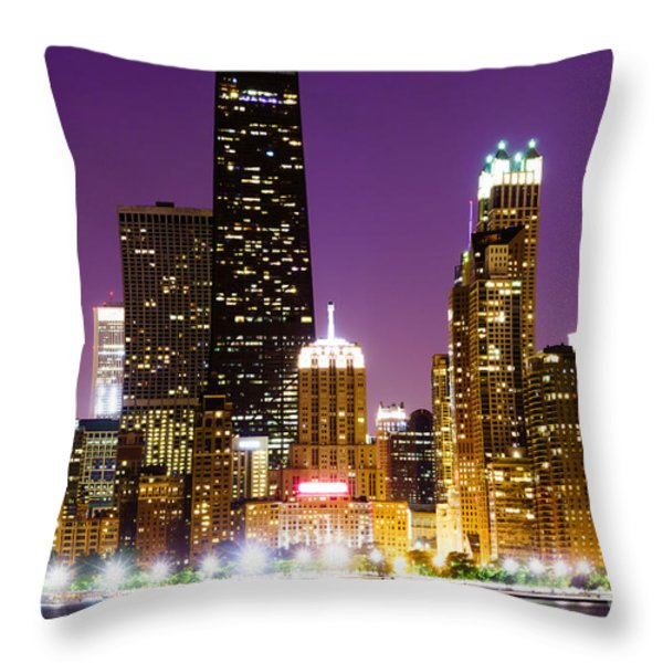Hancock Building At Night In Chicago Throw Pillow by Paul Velgos