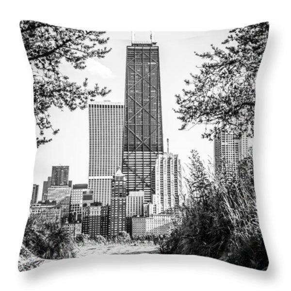 Hancock Building Through Trees Black And White Photo Throw Pillow by Paul Velgos