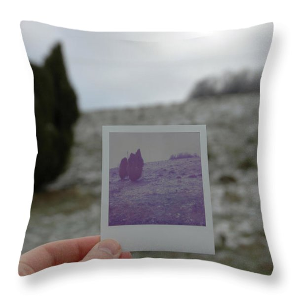 Hand Holding Polaroid - Concept Image For Memory Or Time Or Past Throw Pillow by Matthias Hauser