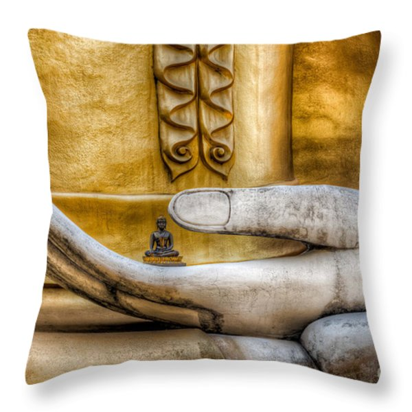 Hand of Buddha Throw Pillow by Adrian Evans
