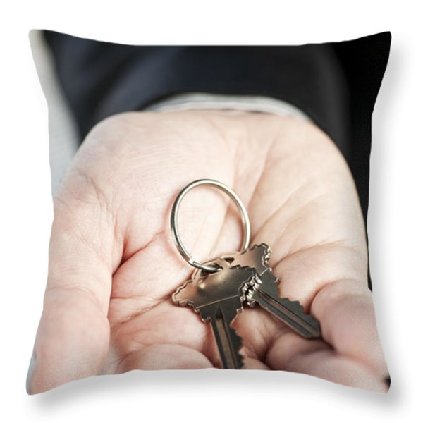 Hand Offering New Keys Throw Pillow by Elena Elisseeva
