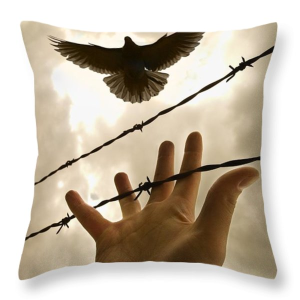 Hand Reaching Out For Bird Throw Pillow by Nathan Lau