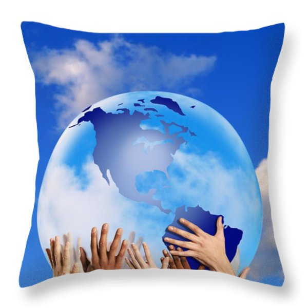 Hands Touching A Globe Throw Pillow by Don Hammond