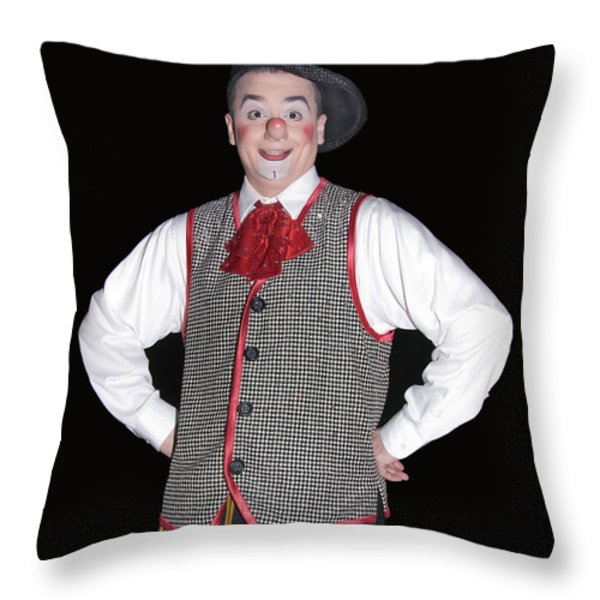 Handsome Clown At The Circus Throw Pillow by Susan Leggett