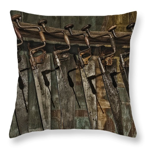 Handy Man Tools Throw Pillow by Susan Candelario