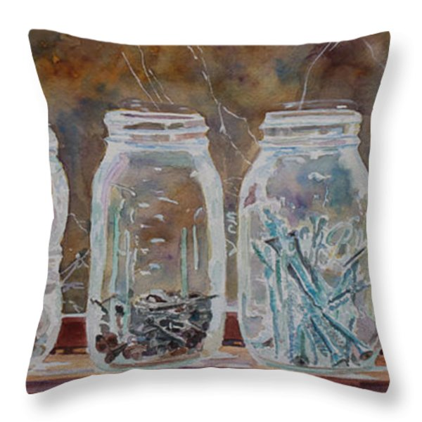 Handymans Preserves Throw Pillow by Jenny Armitage