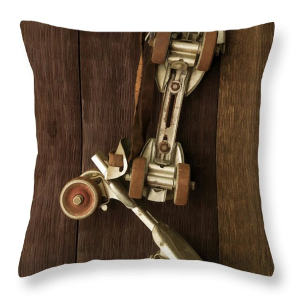 Hang Up Your Skates - Oil Throw Pillow by Edward Fielding