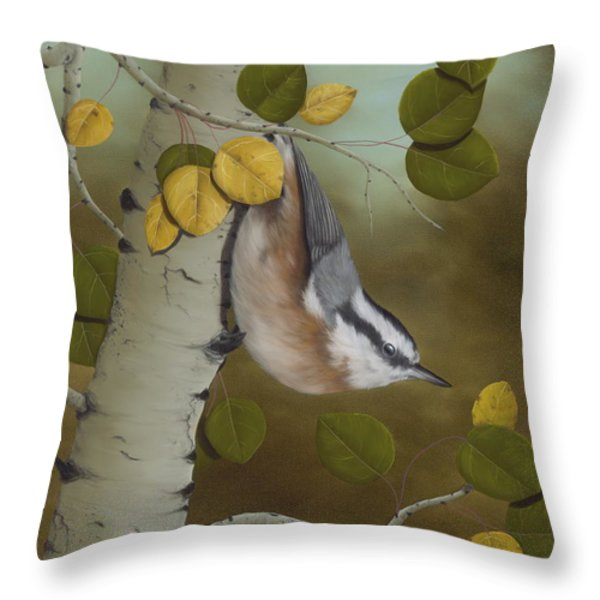 Hanging Around-red Breasted Nuthatch Throw Pillow by Rick Bainbridge