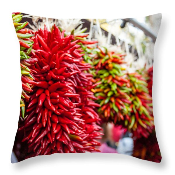 Hanging Chili Pepper Ristras at Farmers Market Throw Pillow by Teri Virbickis