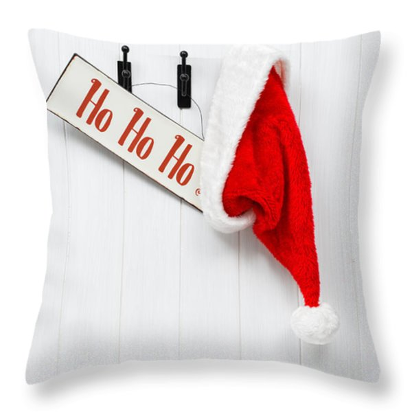 Hanging Santa Hat and Sign Throw Pillow by Amanda And Christopher Elwell