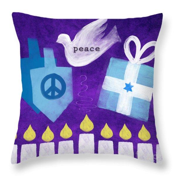 Hanukkah Peace Throw Pillow by Linda Woods