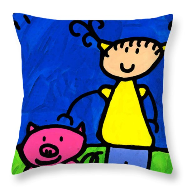 Happi Arte 1 - Girl With Pink Pig Art Throw Pillow by Sharon Cummings