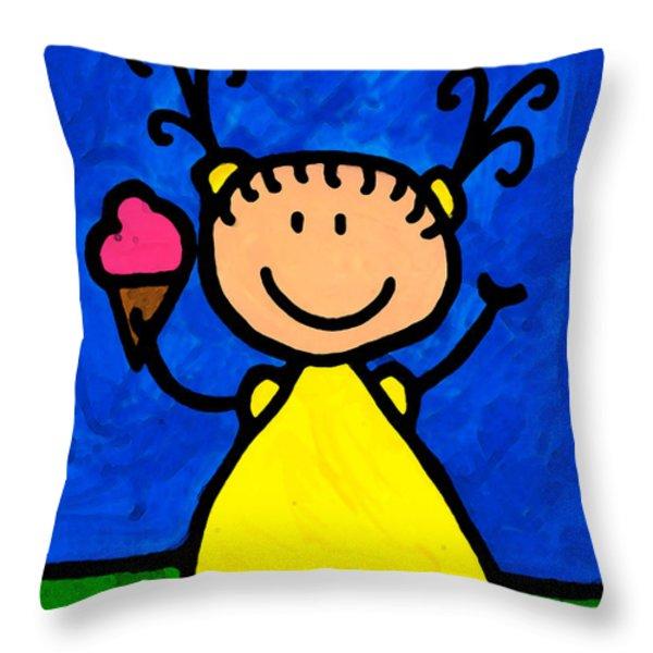 Happi Arte 3 - Little Girl Ice Cream Cone Art Throw Pillow by Sharon Cummings