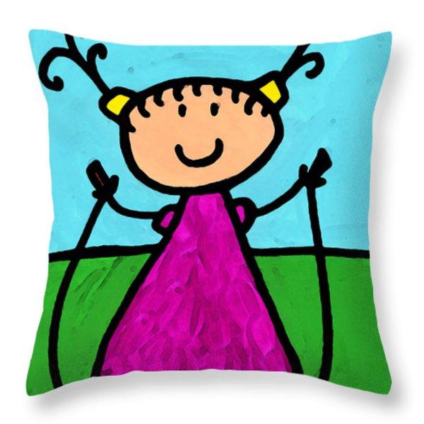 Happi Arte 7 - Girl On Jump Rope Art Throw Pillow by Sharon Cummings