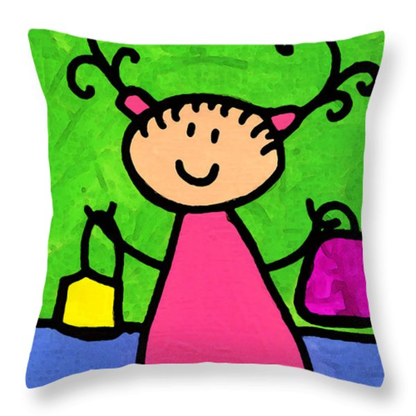 Happi Arti 5 - Shopaholic Little Girl Art Throw Pillow by Sharon Cummings