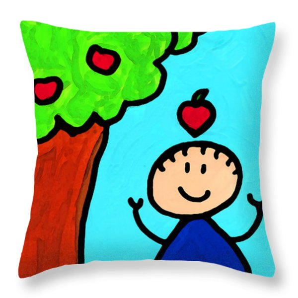 Happi Arti 6 - Sir Isaac Newton Art  Throw Pillow by Sharon Cummings