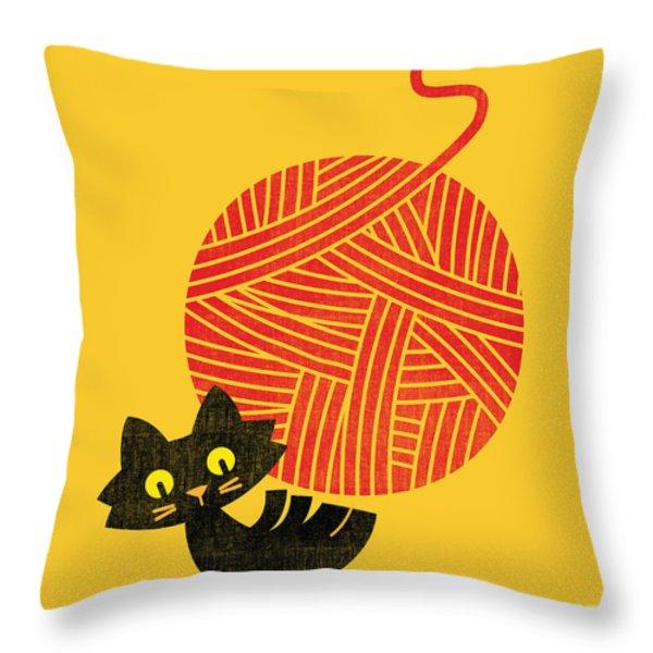 Happiness cat and yarn Throw Pillow by Budi Satria Kwan