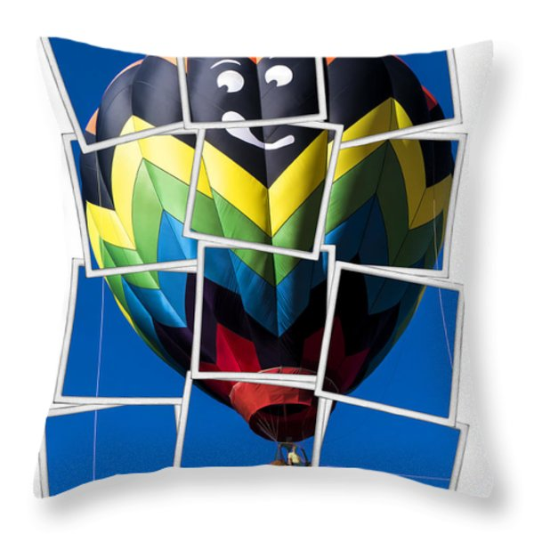 Happy Balloon Ride Throw Pillow by Edward Fielding